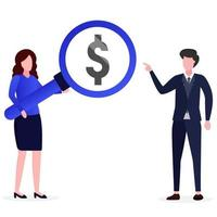 Illustration of an entrepreneur finding investment opportunities vector