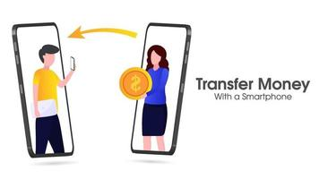 illustration of money with a smartphone vector