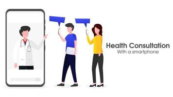The user is consulting health via a smartphone vector