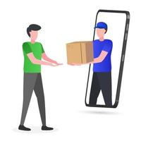 Illustration of courier sending goods to customers vector