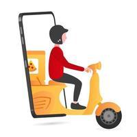 aplicación de entrega de alimentos en el teléfono inteligente vector