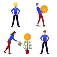 Various character of investment business vector