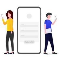 Someone is registering via a smartphone vector