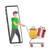 Illustration of online shopping with smartphone vector