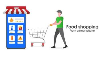 Illustration of food shopping with a smartphone vector