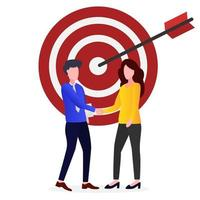 Business people are making target deals vector