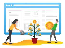 The concept of investment illustration with character vector