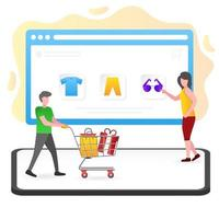 illustration of online shopping with the web vector