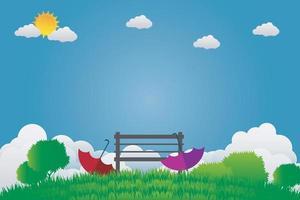Dos sombrillas y una silla están en el jardín verde en el cielo brillante vector