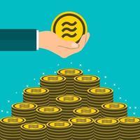 concepto de negocio con monedas libra vector