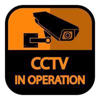 CCTV Camera label Black Video surveillance sign on white background vector