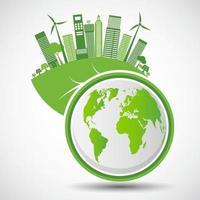 La ecología y el concepto ambiental símbolo de la tierra con hojas verdes alrededor de las ciudades ayudan al mundo con ideas ecológicas vector