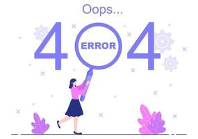 404 Error And Page Not Found Vector Illustration