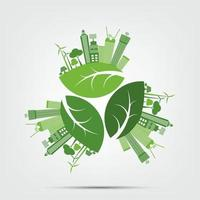 Green cities help the world with eco friendly concept ideas vector