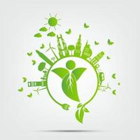 Ecology Green cities help No plastic bags eco friendly concept ideas vector