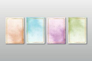 Watercolor hand painted background texture set vector