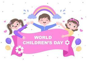 ilustración del día del niño feliz con personaje de dibujos animados vector