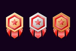 game ui gold silver bronze rank badge medals with red ribbon vector