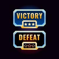game ui golden diamond victory and defeat design interface vector