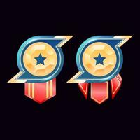 game ui glossy golden diamond rank badge medals with star vector