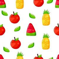 flat hand drawn summer fruits seamless patter design vector