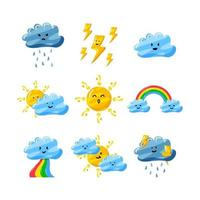 cute weather in flat hand drawn style set pack vector