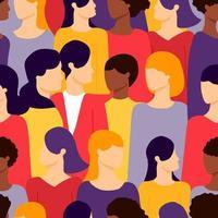 Grupo de patrones sin fisuras de diferentes etnias femeninas vector