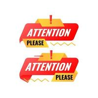 flat modern attention please banner template vector
