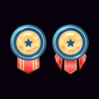game ui rounded glossy golden diamond rank badge medals with star vector