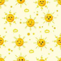 hand drawn flat cute sun seamless pattern vector