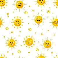 funny cute sun seamless pattern with white background vector