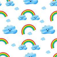 lindas nubes y arco iris de patrones sin fisuras vector