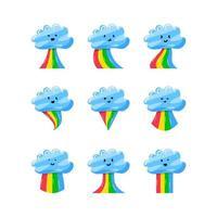 conjunto de colección de linda nube con arco iris de colores en estilo plano dibujado a mano vector