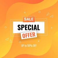special offer sale banner design template with fluid gradient background vector