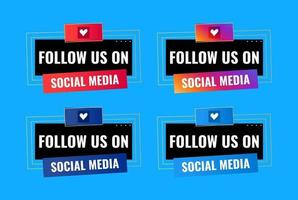 follow us on social media celebration banner design vector