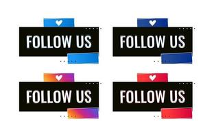 follow us social media banner template vector