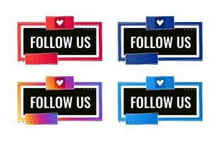 Síganos plantilla de banner de redes sociales con icono de corazón vector
