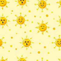 funny flat hand drawn cute sun seamless pattern vector