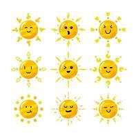 cute flat hand drawn cartoon sun collection set vector