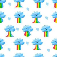 cute clouds with rainbow in flat hand drawn style seamless pattern vector
