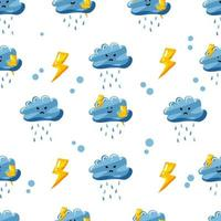 rainy cloud with thunder seamless pattern design with flat hand drawn style vector