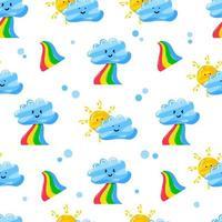 nubes, arco iris y sol, diseño de patrones sin fisuras con estilo plano dibujado a mano vector