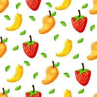 flat hand drawn healthy fruits seamless pattern design vector