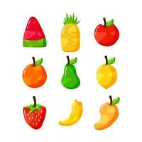flat hand drawn fruits collection set design vector