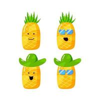 cute summer pineapple cartoon character with flat hand drawn style vector