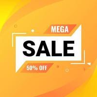 mega sale banner design template with gradient background vector