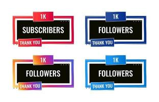 colorful thank you 1000 followers and subscribers social media banner vector
