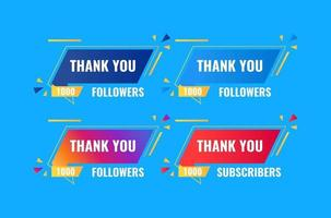 thank you 1000 followers and subscriber banner design vector