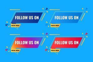 follow us on social media celebration banner greeting design vector