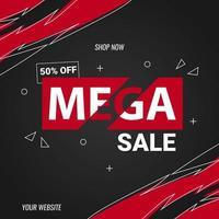 mega sale banner design template vector